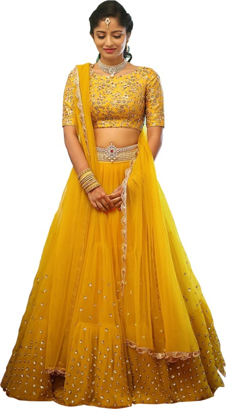 fotoablearc Embroidered Lehenga, Choli and Dupatta Set(Yellow)