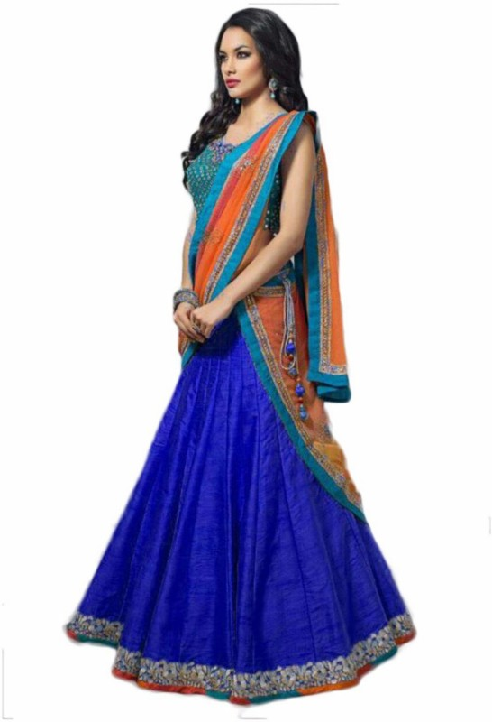 Glamory Saree Embroidered Lehenga Choli(Blue)