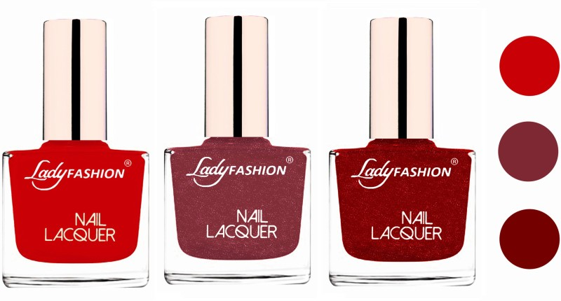 Lady Fashion Glossy & Long Stay Nail Polish combo Juicy Red,Mauve,Red(Pack of 3)