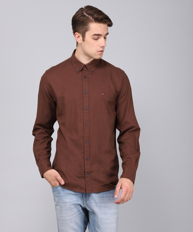 Tommy Hilfiger Mens Printed Casual Spread Shirt