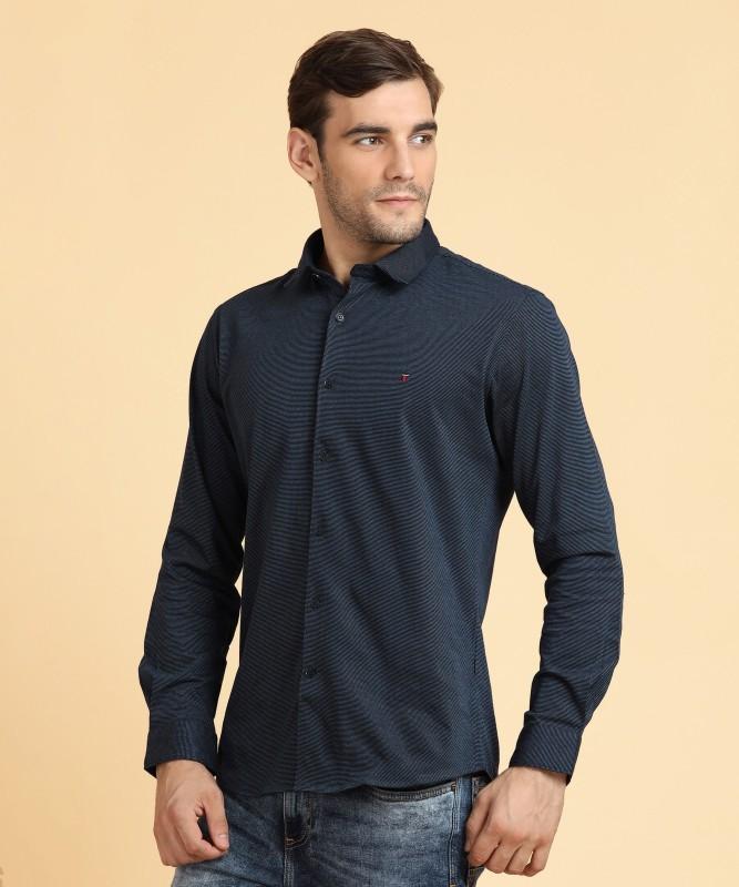 LP Louis Philippe Mens Self Design Casual Spread Shirt