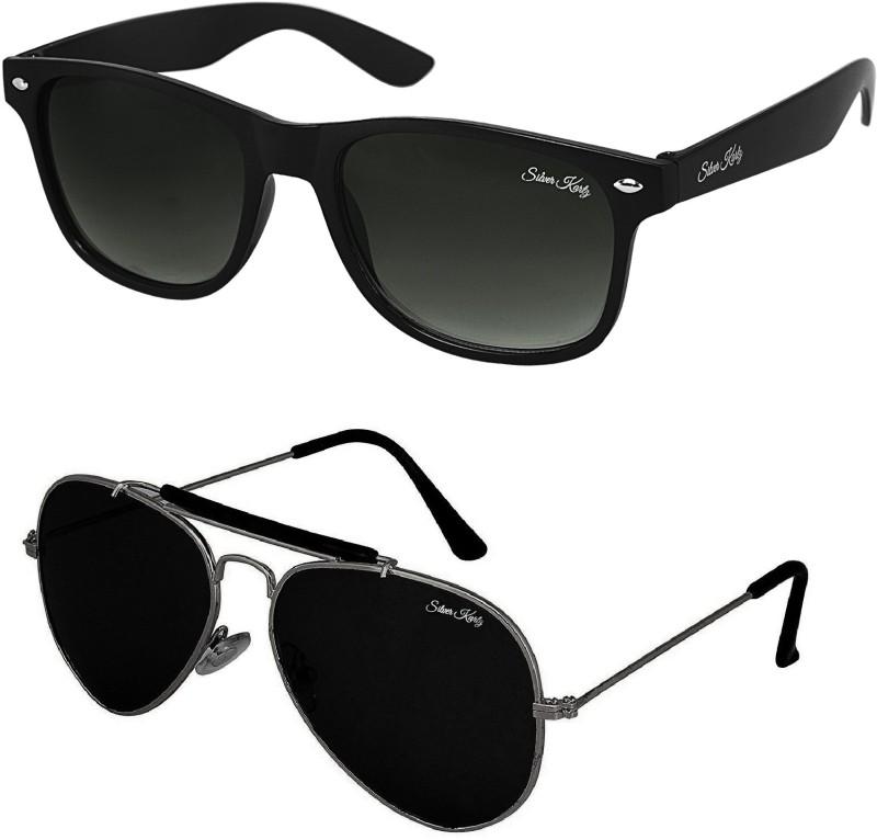 Silver Kartz Wayfarer, Aviator Sunglasses(Black) image