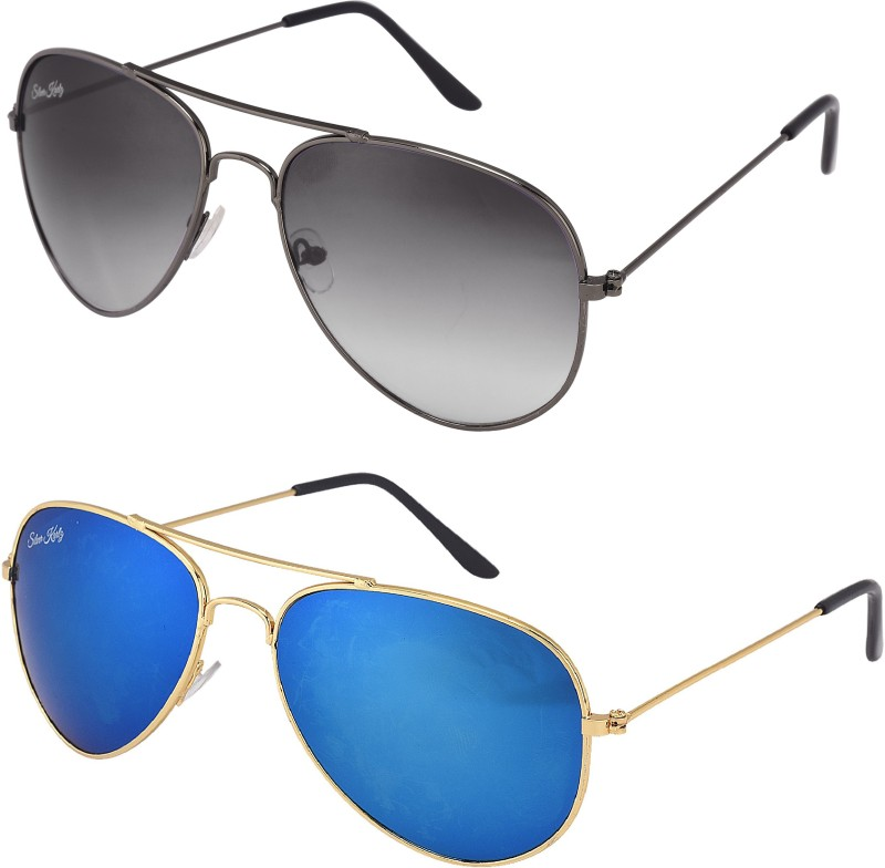 Silver Kartz Aviator Sunglasses(Black, Blue) image