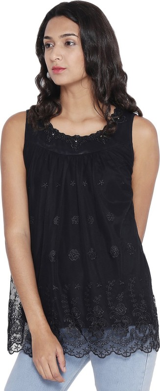 Camey Casual Sleeveless Embroidered Women's Black Top