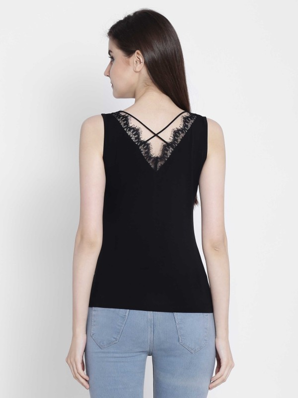 Camey Casual Sleeveless Solid Women's Black Top