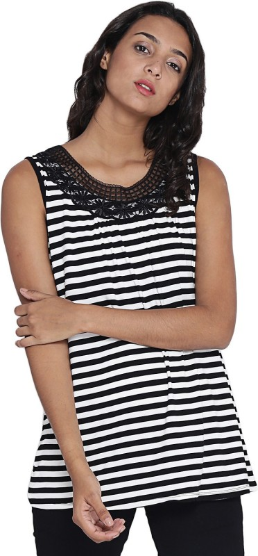 Camey Casual Sleeveless Striped Women's Black Top