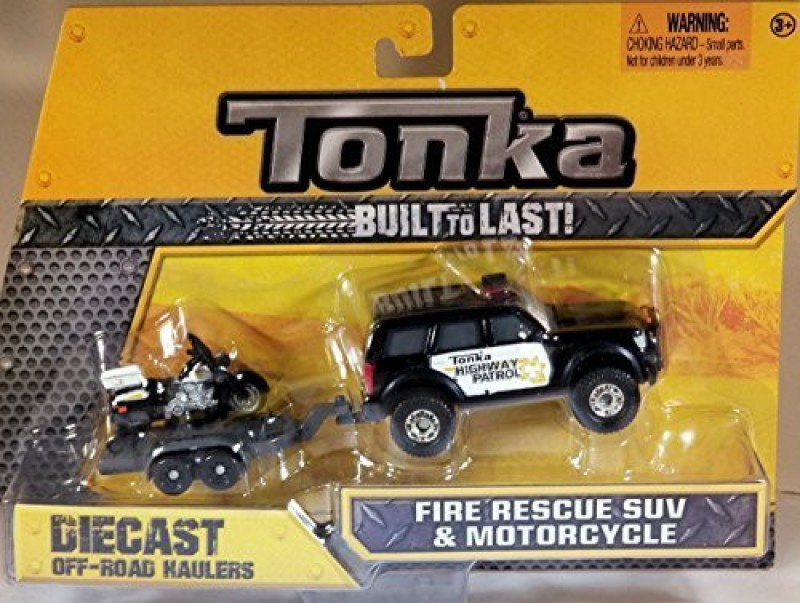 Funrise Tonka Diecast Metals - Highway Patrol Pick-Up and Motorcycle021664073308 with Trailer - 1:64 scale vehicle(Multicolor)