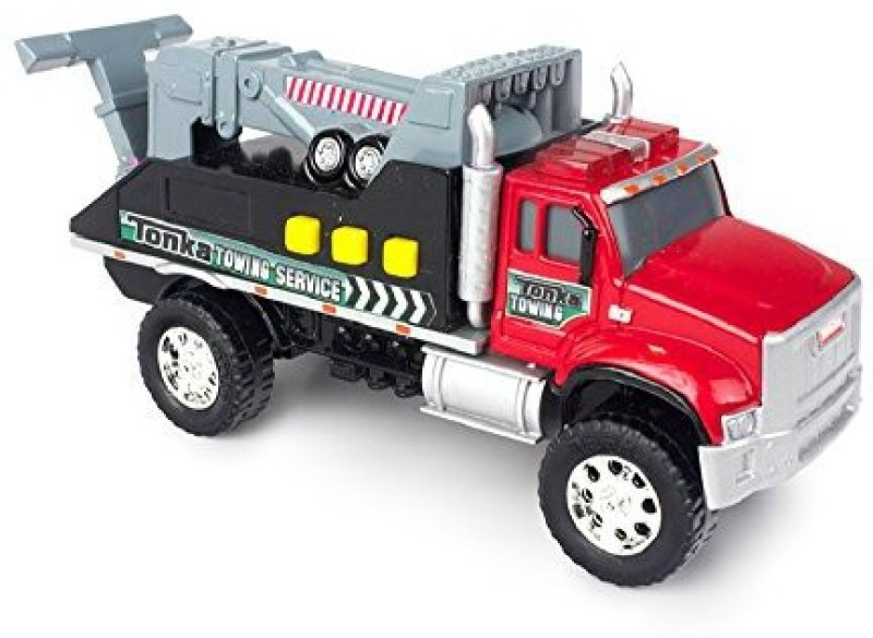 Funrise Tonka Toughest Mini Towing Service Red Tow Truck with Lights and Sounds Built to Last(Multicolor)