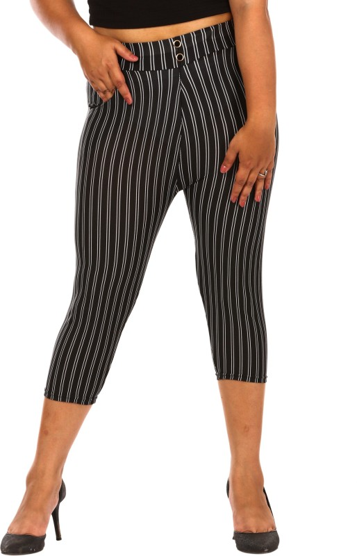 Fit 'N ' You Stripe Print Black Women's Black Capri
