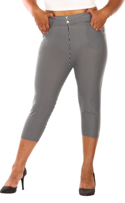 Fit 'N ' You Stripe Print Women's White, Grey Capri