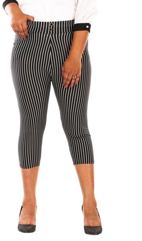 Fit 'N ' You Wide Stripes Print Women's Black Capri