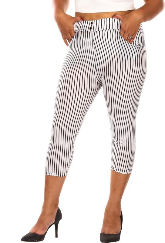 Fit 'N ' You Stripe Print Women's White, Black Capri