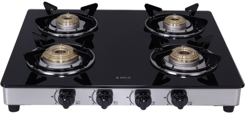 Elica 594 Ct Dt Vetro 1j Steel, Glass Manual Gas Stove(4 Burners)