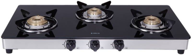 Elica 773 Ct Dt Vetro Steel, Glass Manual Gas Stove(3 Burners)