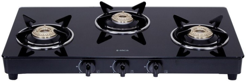 Elica 703 Ct Vetro Blk Glass, Steel Manual Gas Stove(3 Burners)