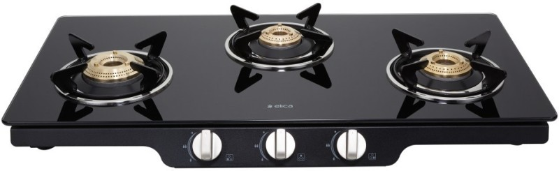 Elica Patio Ict 773 Blk Ai Steel, Glass Automatic Gas Stove(3 Burners)