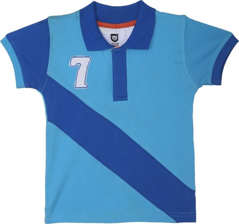 612 League Boys Self Design Cotton T Shirt(Blue, Pack of 1)