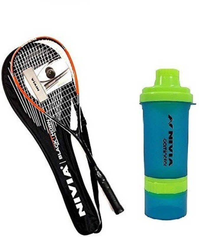 Nivia Combo Of Three One 'Black Thorn' Squash Racquet, One 'DOMINATOR' SHAKER. Squash Kit