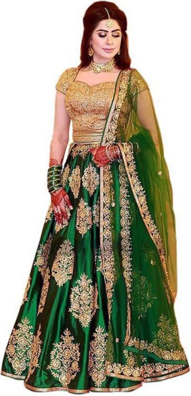 Samvath Fashion Embroidered Lehenga Choli(Green)