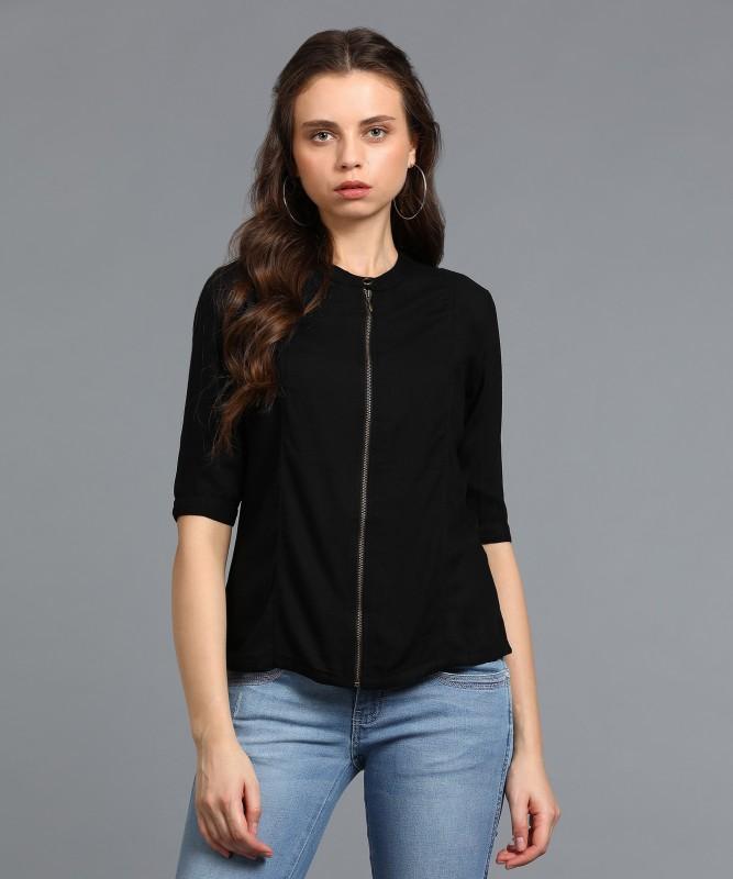 Wrangler Womens Solid Casual Mandarin Shirt