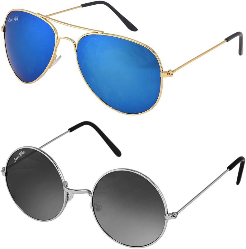 Silver Kartz Wayfarer, Aviator Sunglasses(Blue, Black) image