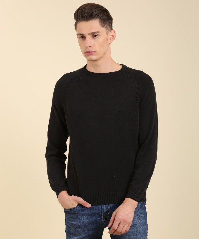 LP Jeans by Louis Philippe Solid Round Neck Casual Mens Black Sweater