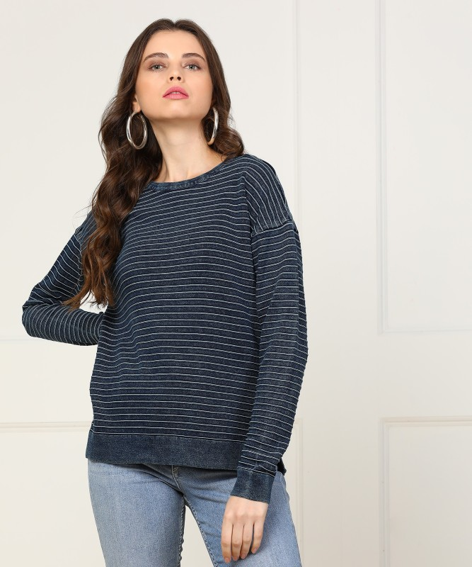 Levis Striped Womens Round Neck Dark Blue T-Shirt