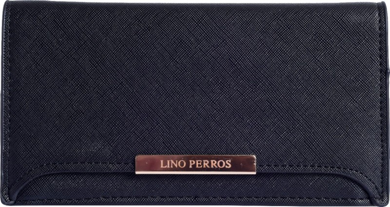 Lino Perros Women Black Artificial Leather Wallet(1 Card Slot)