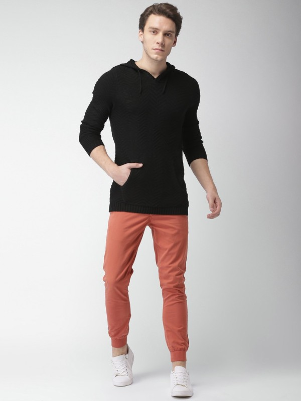 Mast & Harbour Self Design NA Casual Men Black Sweater
