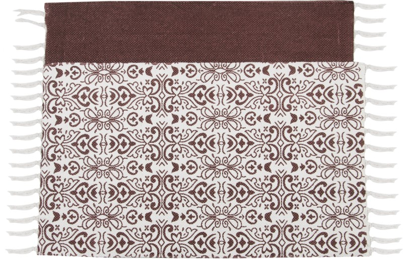 SWHF Double Twisted Cotton Flower Stripe Printed & Solid Rug, Set of 2: Indoor Rug Pad(Retangle)