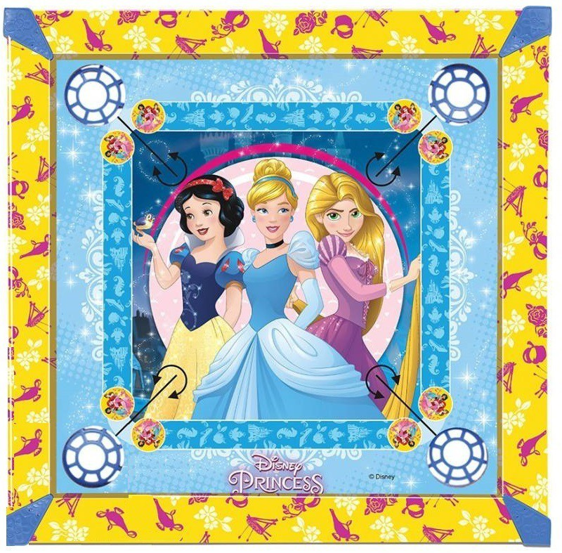 HALO NATION Disney Princess carrom board Premium Quality with carrom, coins, striker, Pawns and Dice 20*20 Inches Board Game