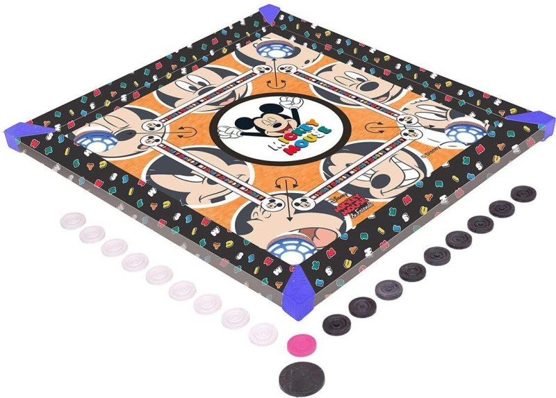 HALO NATION Disney Mickey Mouse carrom board Premium Quality with carrom, coins, striker, Pawns and Dice 20*20 Inches Board Game
