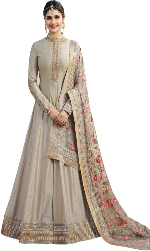 Ethnic Yard Poly Silk Embroidered Salwar Suit Material(Semi Stitched)