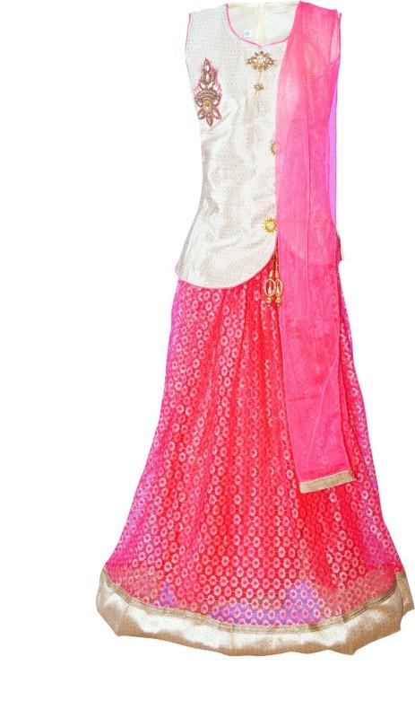 4DS Girls Lehenga Choli Ethnic Wear Embellished Lehenga, Choli and Dupatta Set(Multicolor, Pack of 1)