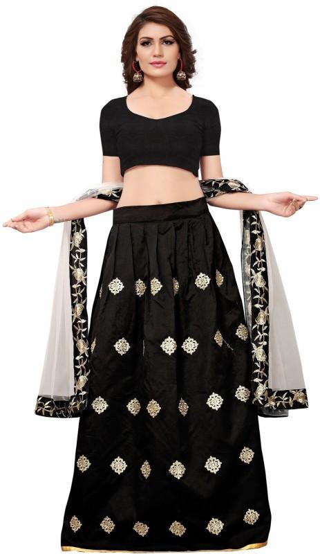 Aika Embroidered Semi Stitched Lehenga, Choli and Dupatta Set(Black)
