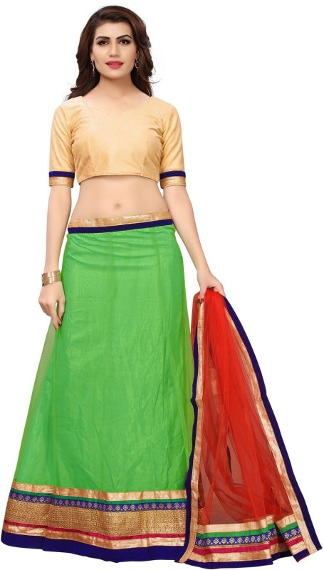Aika Embellished Semi Stitched Lehenga, Choli and Dupatta Set(Light Green)
