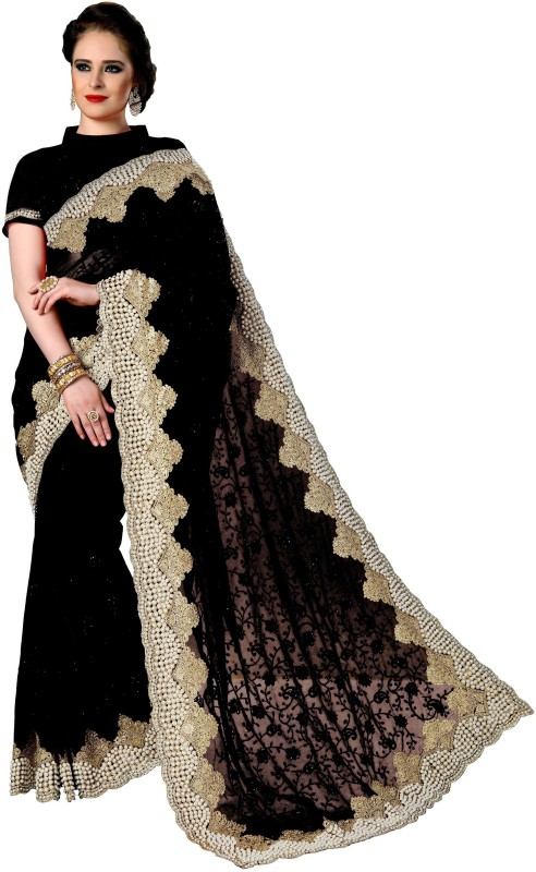 Pragati Fashion Hub Embroidered Bollywood Net Saree(Black)