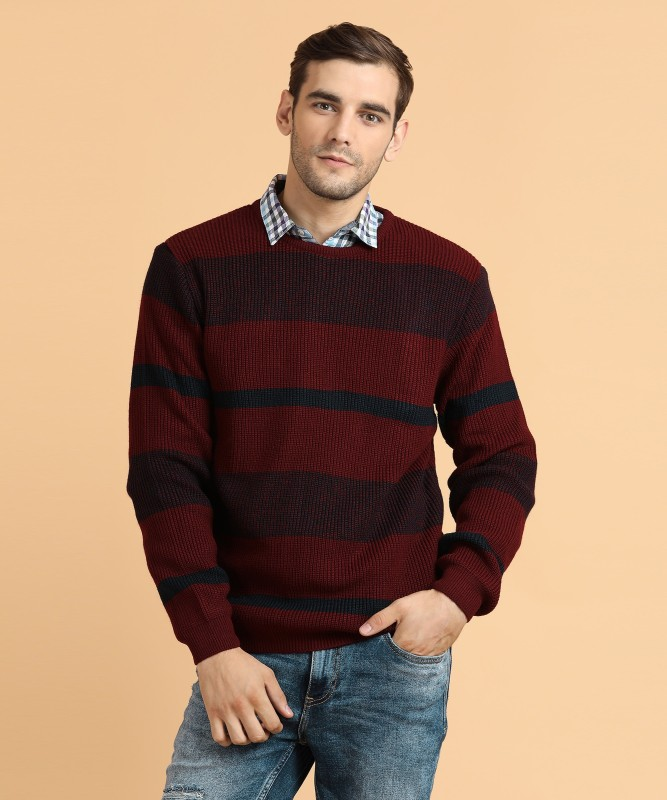 Peter England Striped, Self Design Round Neck Casual Men's Maroon Sweater
