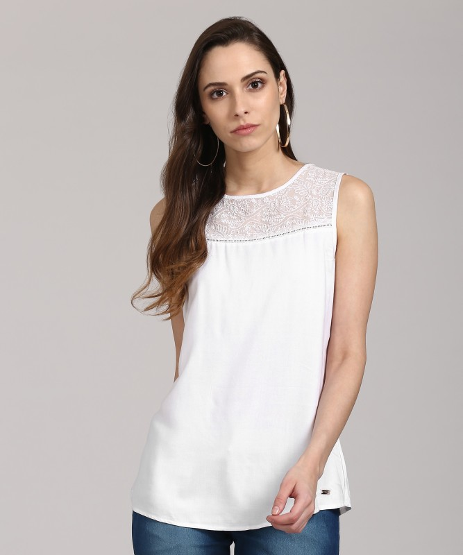 Park Avenue Casual Sleeveless Embroidered Women's White Top