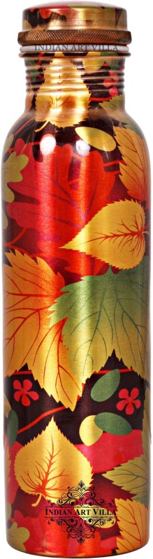 IndianArtVilla Copper Water Bottle,Printed Flower Design 1000 ml Bottle(Pack of 1, Multicolor)