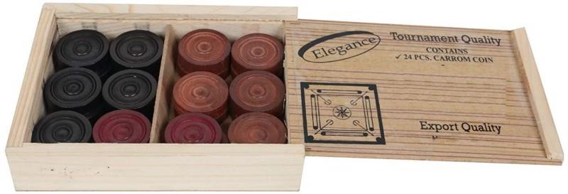 QUINERGYS ® Super A++ Quality High Class Transparent Wooden Carrom/Carom Coins Carrom Pawns(Pack of 24)