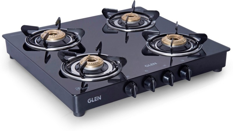 GLEN Glen 4 Burner Gas Stove 1043 GT Brass Burner Black Mirror Cooktop Glass Manual Gas Stove(4 Burners)