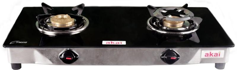 akai AKGT2BR Glass Manual Gas Stove(2 Burners)