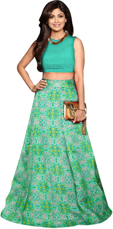 JK Creation Floral Print Semi Stitched Lehenga Choli(Green)