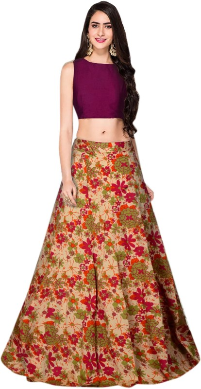 JK Creation Floral Print Semi Stitched Lehenga Choli(Red)