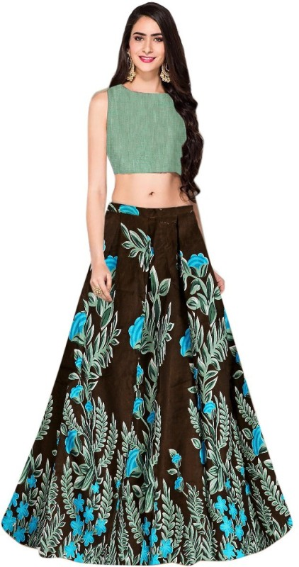 Maa khodal creation Printed Semi Stitched Lehenga Choli(Brown)