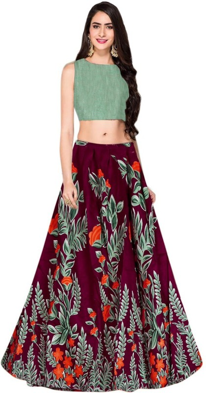 Khodalraj creation Geometric Print Semi Stitched Lehenga Choli(Maroon)
