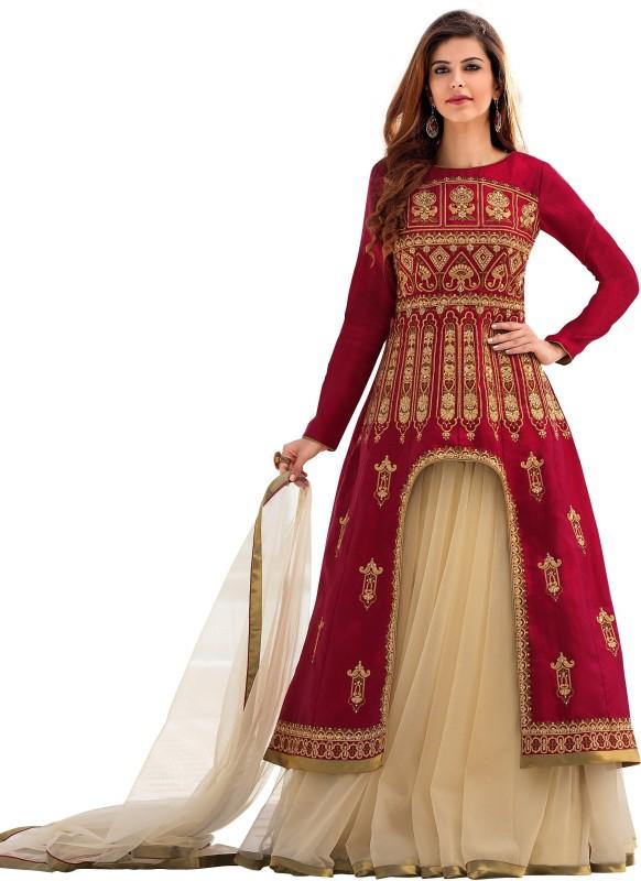 Mert India Embroidered Lehenga, Choli and Dupatta Set(Multicolor)