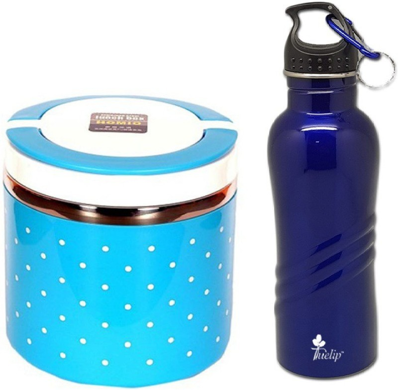 Tuelip Combo Of Single Layer Lunch Box for Office, School Going Kids Girls & Boys With Stainless Steel Water Bottle 750 ml 1 Containers Lunch Box(630 ml)