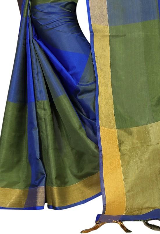 HashTag Fashion Solid, Plain Banarasi Poly Silk, Cotton, Cotton Silk Saree(Green)
